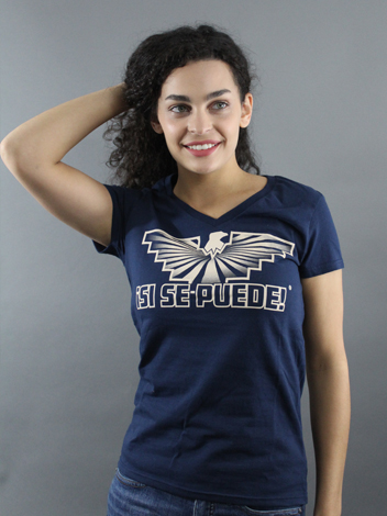 Navy color V-Neck short sleeve shirt with UFW eagle and the words Si Se Puede.